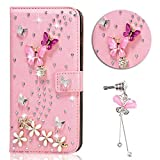 iPhone 5 Case, Sunroyal Handmade Magnet Diamond Flip DIY 3D Bling Pearl Rhinestone Floral Sparkling Leather Cover Stand Pouch Wallet Phone Case for Apple iPhone 5s 5 + Pink Crystal Butterfly Dustproof Accessories Set