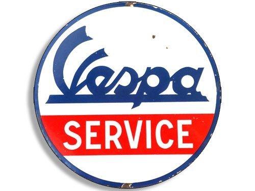 Vintage Flag Round Sticker - GHaynes Distributing Round Vintage VESPA Service Sticker Decal (gas gasoline logo old rat rod) 4 x 4 inch