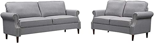 LTTROMAT, Gray Living Sets, 2 3Modern Classic Linen Love Seat with Soft Up Holstered Sofa for Livingroom, L 76.3 W 30.7 H 33.8