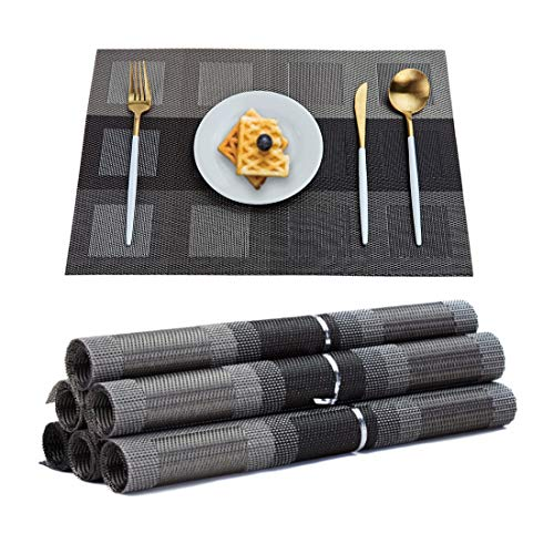 (TOP BEAUTY Placemats Set of 6 Woven Vinyl Table Mats PVC Heat Insulation Stain Resistant Non Slip Kitchen Dining Table Decoration)