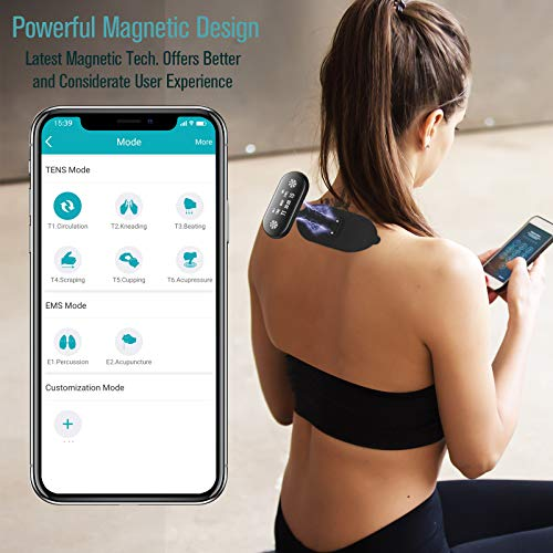 1byone Wireless TENS Unit Muscle Stimulator, Bluetooth and Magnetic Electronic Pulse Muscle Massager Machine, EMS & TENS Modes, App Control, with 6 Pads for Neck, Knee, Back Pain Relief