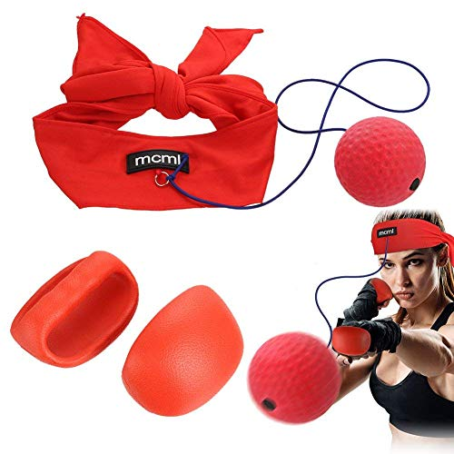 AHCSMRE Boxing Reflex Ball Fitness Kit,Head Band Punch Gloves Great for Boxing Eye Training Reactions Speed Faster…