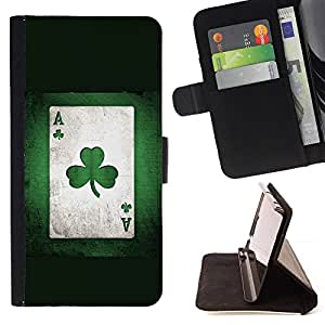 DEVIL CASE - FOR Samsung Galaxy Note 3 III - Card Clover Trefoil Plant Art Game Poker Green - Style PU Leather Case Wallet Flip Stand Flap Closure Cover