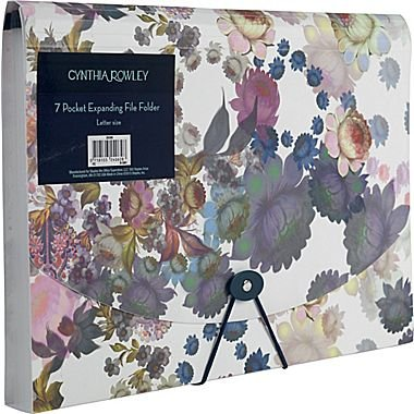 Cynthia Rowley 7 Pocket Expanding File Folder, Letter Size, Cosmic White Floral
