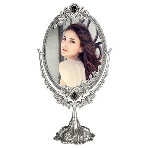 KINGFOM Antique Two Sided Swivel Oval Desktop Vanity Makeup Mirror with Embossed Roses and Mounted Beads for Home, Jewelry or Watches Cosmetics Showcase (Antique Pewter, ()
