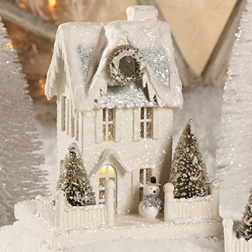 "Bethany Lowe 9"" Tall White Christmas Village House with Snowman"
