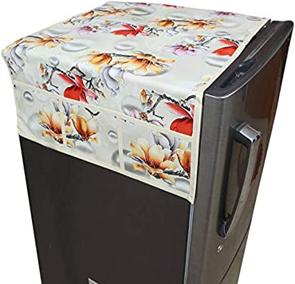 Kuber Industries Flower Design PVC Fridge Top Cover -Cream