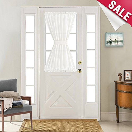 French Door Panel Curtains Faux Silk White French Door Panels 40 inch Length Satin Privacy French Door Curtains, 1 Panel, with Bonus Tieback ()