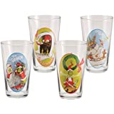 """Set of 4 Collectible Dr. Seuss """"The Grinch"""" 16 Ounce Glass Cups"""
