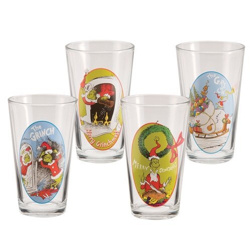 Set of 4 Collectible Dr. Seuss The Grinch 16 Ounce Glass Cups Vandor SS-VG-53603