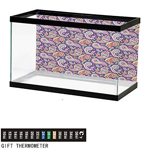 wwwhsl Aquarium Background,Paisley,Sixties and Seventies Hippie Themed Motives Geometrical and Floral Design Image Print,Purple Fish Tank Backdrop 48