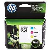 HP 951 Ink Cartridges: Cyan (CN050AN), Magenta (CN051AN) & Yellow (CN051AN), 3 Ink Cartridges (CR314FN) for HP Officejet Pro 8610 8600 8620 8100 251dw 8630 8625 8615 276dw: more info