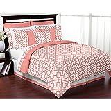 Modern White and Coral Diamond Geometric Peach Full / Queen Bed Bedding Teen Girl Childrens Comforter Sheet Set