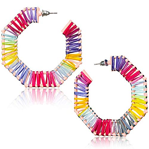 Hoop Earrings for Women Girls Raffia Handmade Earrings Statement Earrings Drop Dangle Earrings Gifts for Her ()