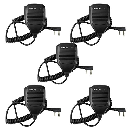 Retevis 2 Pin Shoulder Mic Speaker Mic Microphone Compatible with Baofeng BF-888S UV-5R Kenwood Retevis H-777 RT21 RT22 RT5 RT-5R H-777S Arcshell AR-5 Walkie Talkie (5 Pack) ()