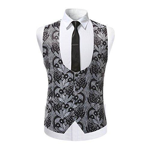 En Floral Tweed Gilet Casual U Sliktaa Homme Fit Slim Impression Jacquard Classique Col Gris PzFgzqY