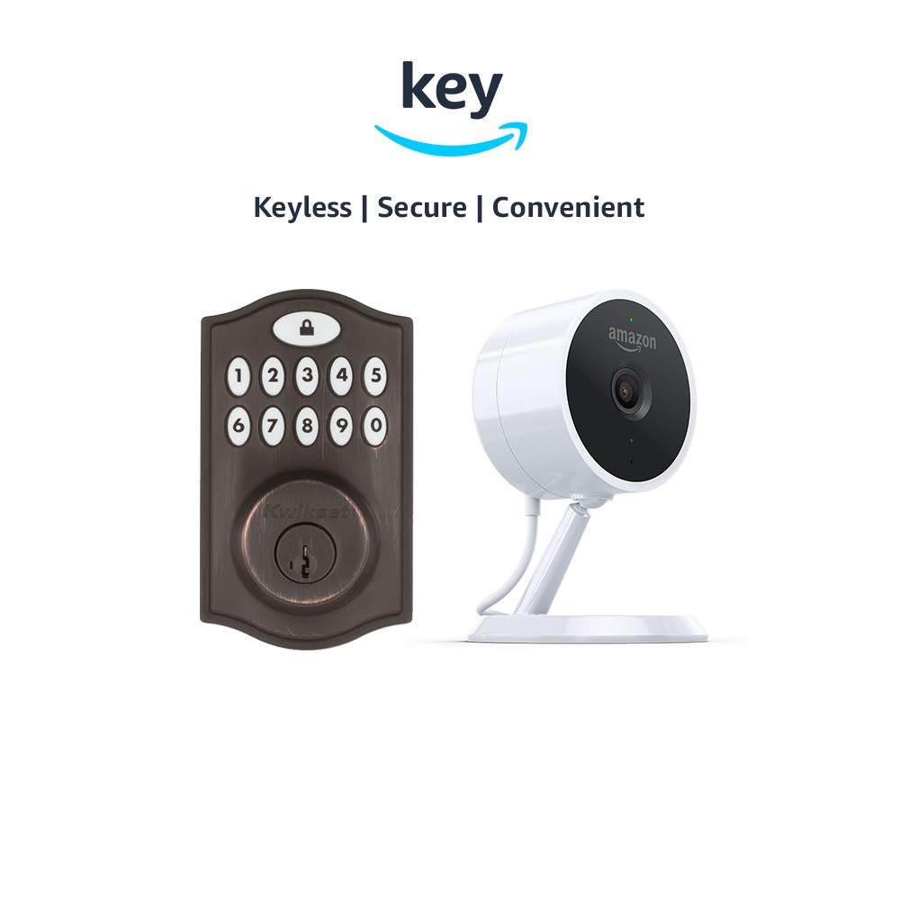 Kwikset SmartCode 914 Keypad Smart Lock + Amazon Cloud Cam | Key Smart Lock Kit (Venetian Bronze)