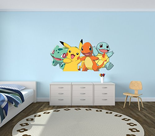 Pokemon-GO-Pikachu-Charmander-Bulbasaur-Squirtle-Wall-Decal-Vinyl-Sticker-Art-Home-Decor-Iphone-Android-Game