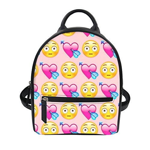 Horeset Mini Leather Backpack Fashion Small Daypacks Purse 3D Emoji Print  for Girls Women Bag Ladies Teenager Tote Handbag Multicoloured 4