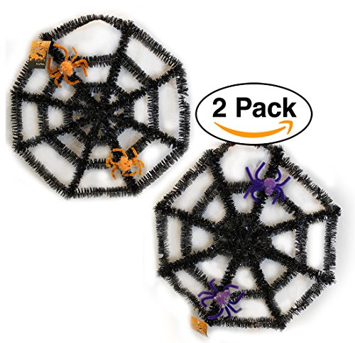 """Spider Web Halloween Decorations -2 PACK - Wall Plaque Black 16"""" (Door Decorations For Halloween Classroom)"""