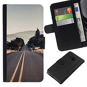 NEECELL GIFT forCITY // Billetera de cuero Caso Cubierta de protección Carcasa / Leather Wallet Case for HTC One M9 // Vaciar la carretera EE.UU.