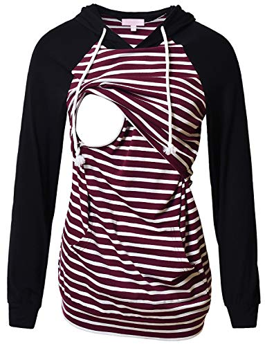 Women's Nursing Hoodie Sweatshirt Raglan Long Sleeves Casual Maternity Top Breastfeeding Clothes Burgundy White Striped XL