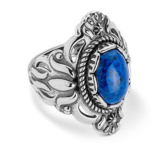 Sterling Silver Denim Lapis Bold Ring Size 9 ()