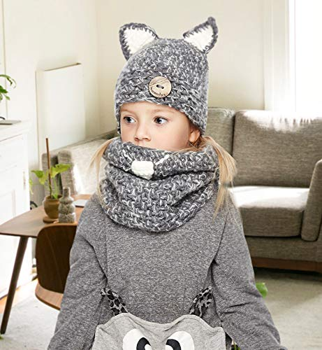 8efbefe9179 Sumolux Winter Kids Warm Cat Animal Hats Knitted Coif Hood Scarf Beanies  for Autumn Winter