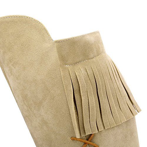 Allhqfashion Women's Round Closed Toe High-Top High-Heels Solid Imitated Suede Boots Beige e2j6DZM
