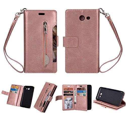 Amazon.com: Galaxy J5 2017(US Version) Case,Folice Zipper Wallet Case [Magnetic Closure]& 9 Card Slots, PU Leather Kickstand Wallet Cover Durable Flip Case ...