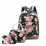 Backpack Set, Canvas Bookbags 14' Laptop Backpack, 3 in 1 with Lunch Tote Bag Clutch Purse (Floral)