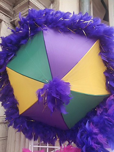 New Orleans Mardi Gras Second Line Umbrella with Purple Feather Accent]()
