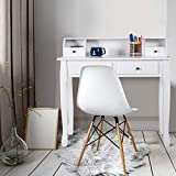 Giantex Writing Desk with 4 Drawers 2-Tier Mission Home Office Computer Desk, White