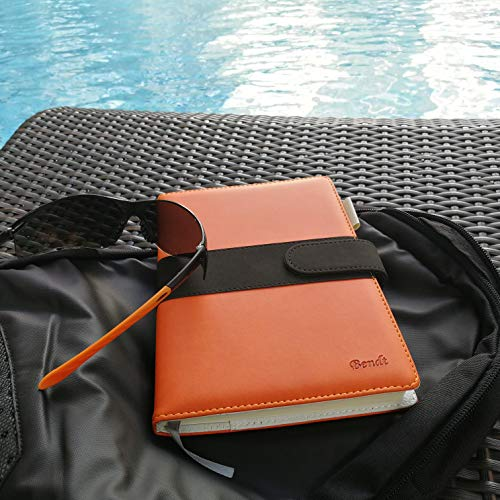 Refillable Journal with Lined Pages, A5 Notebook to Write In, Writing Diary with Faux Leather Cover + Pen Loop for Personal Work Poetry by Bendt (Orange)