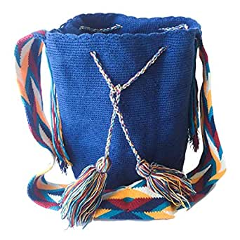 Wayuu handmade crossbody bag for women - COBALT