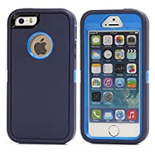 MOONCASE iPhone SE Case, 3 Layers Heavy Duty Defender Hybrid Soft TPU +PC Bumper Triple Shockproof Drop Resistance Protective Case Cover for Apple iPhone 5 / 5S / iPhone SE -Navy Blue