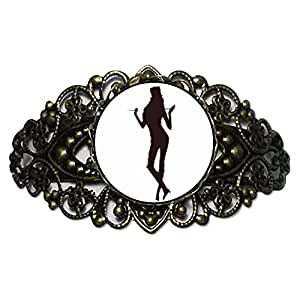 Chicforest Bronze Retro Style Dance themes Jazz Dancer Flower Cuff Bracelet