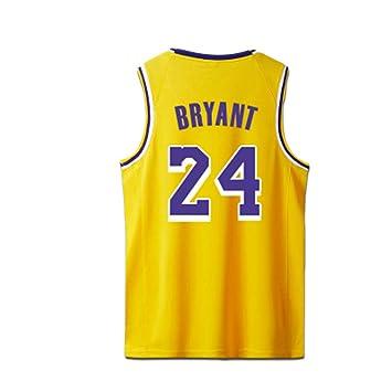 Bryant Kobe Camisetas de Baloncesto Camisa Los Angeles Lakers para Hombre # 24 Amarillo Negro Púrpura: Amazon.es: Deportes y aire libre