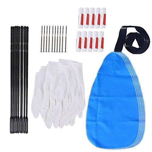 Yibuy Flute Cleaning Kit Set with Cleaning Cloth Stick Cork Grease Screwdriver Gloves Set of 50