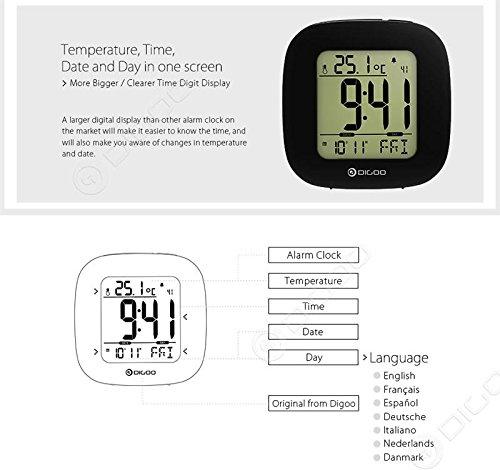 NDM Retail Digoo DG-C1 multifuncional Electrónica digital despertador termómetro la temperatura del LCD retroiluminado: Amazon.es: Hogar