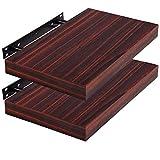 WOLTU Set of 2 Floating Wall Shelves MDF Wall Mount Wood Ledge Display and Organizer Rack with Hidden Brackets, 15.75'' Long, Dark Wood, AWSX10003dwdS40-2