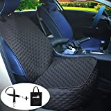 Front Dog Seat Cover Pet Car Seat Covers Pecute for Pets Travel, Heat Pressing Process, Waterproof Scratch Proof Nonslip Durable Sof Hammock Mat Liner for All Cars, Trucks, SUVs & Vans Black