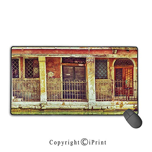 Office and home waterproof coated mouse pad,Venice,Desolated Aged Timeworn Italian Building and Water Canal Vintage Historical,Orange Brown Green,Ideal for Desk Cover, Computer Keyboard, PC and Laptop