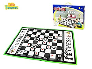 Chess board game for 3 plus ages - giant sized center board and chessmen pieces for easy play