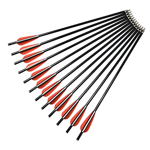 NIKA ARCHERY 12 X 16 Crossbow Bolts Fiberglass Arrows with Flat Nock for Outdoor Hunting (Flat Nock Bolt)