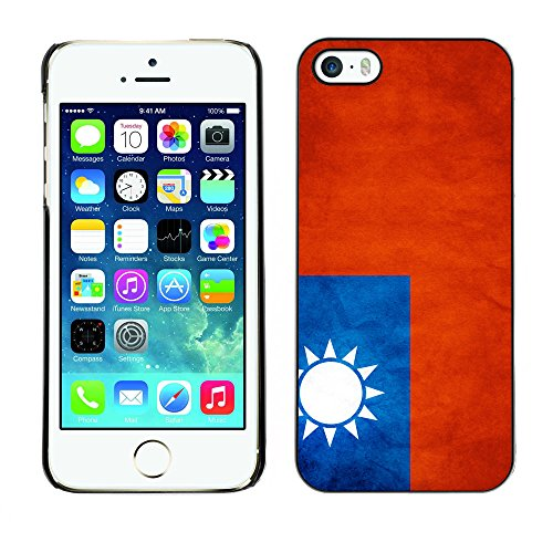 Omega Case PC Polycarbonate Cas Coque Drapeau - Apple iPhone 5 / 5S ( Taiwan Grunge Flag )
