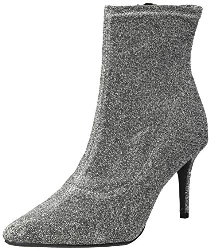 Rampage Women's Thaimara Stiletto Heel Pointed Toe Ankle Bootie Boot, Silver Fabric Stretch, 6.5 M US