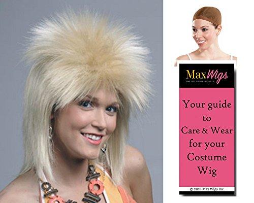 Bundle 3 items: London Punk Rock Wig Ziggy Stardust Bowie Underground Enigma Wigs - Color Blonde, Wig Cap, MaxWigs Costume Wig Care (London Wig)