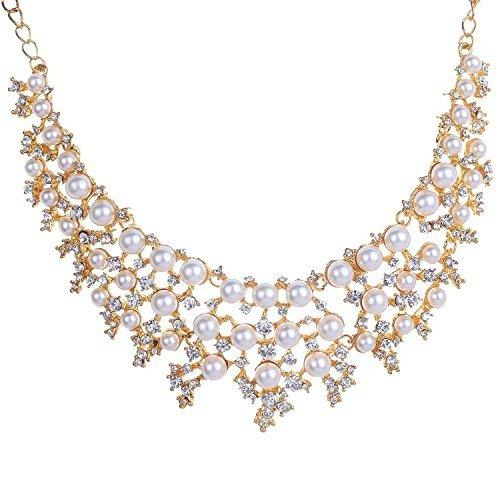 Superior Trade New Women Luxury Crystal Rhinestone Statement Jewelry Imitation Pearl Drop Weave Costume Queen Jewelry (Trade Show Costume Jewelry)
