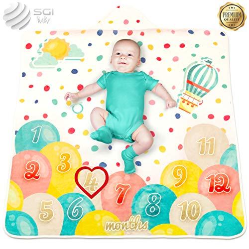 """Baby Monthly Milestone Blanket - 2 in 1 Organic Hooded Towel – Unisex Unique Fleece Photo Prop - Newborn Gift – 47"""" x 47 Inch"""